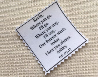 "Skinny Tie Patch FOR THE GROOM - Ink Printed - Choose Message & Font - 2"" x 2"" - Sew on or Iron On - Wedding Tie Patch, Bridegroom Gifts"