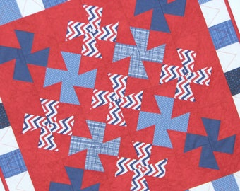 Quilted Patriotic Table Topper, Square Americana Table Mat, Red White Blue Pinwheels and Checkered Border, Quiltsy Handmade
