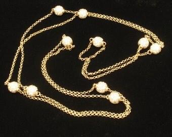 "46"" Long Sterling Silver Vermeil & CZ Necklace"