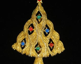 Christmas Tree Pin Vintage JJ Rhinestone Brooch