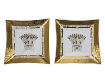 Georges Briard Gold Serving Dishes, Pair - Serveware - Hollywood Regency