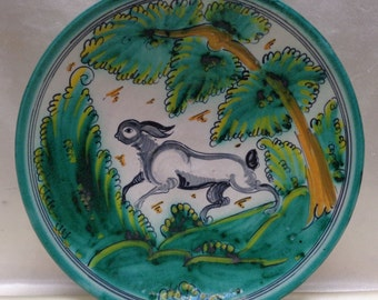 Beautiful Vintage Green Painted Decor Plate w. Rabbit in the Wilderness Design