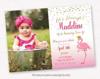 Flamingo Invitation, Birthday Invitation, Pink and Gold Flamingo party invitation, DIGITAL FILE