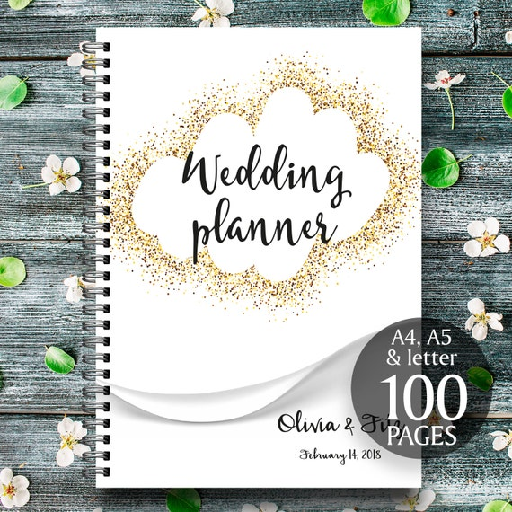 Gold wedding planner, Gold wedding binder, Gold wedding checklist, Gold printable planner, Gold wedding to do list, Wedding PDF planner