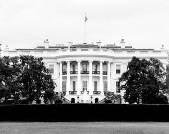 "White House, Washington DC Art, DC Print, Black and White Photography, DC Wall Decor, Washington Wall Art, White House Print - ""White House"""