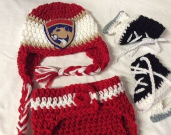 Florida Panthers Baby Crochet Hockey Earflap Hat, Diaper Cover, and Skate Booties .