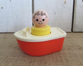 Fisher Price Boat with Chunky Man, Fisher Price Toys, Vintage Fisher Price Bath Toys, Fisher Price Boat 411, Fisher Price Collectibles