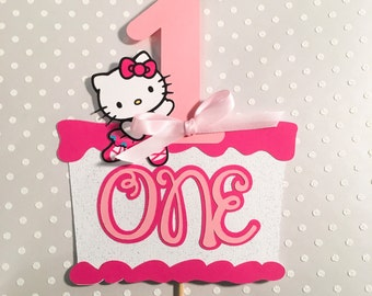 Hello Kitty Cake Topper, Hello Kitty Centerpiece, Hello Kitty Party,Hello Kitty Birthday Banner, photo prop, First Birthday
