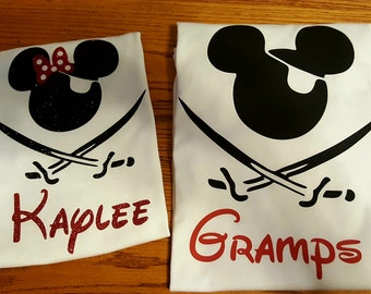 Custom Disney Family Matching Shirts Mickey Mouse Pirate Inspired with Glitter option Available Pirate Personalized