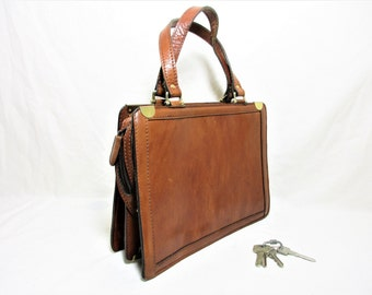Vintage Cogniac Brown Leather Small Ladies Briefcase / Handbag