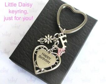 Daisy keyring - Happy Birthday keychain - Little daisy keychain - Birthday gift for friend - Happy Birthday keyring - Daisy gift -  Etsy UK