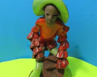 Rare Red Clay  Tropical Island Caribbean Drumer Musician Dancers Conga Latin Calypso Figurine Art Spanish Jamaica