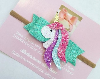 Baby headbands, hair bows, Unicorn, Headbands, Glitter Unicorn Bow, unicorn party