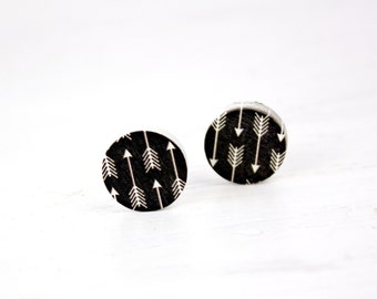 Black arrows wood earrings G32
