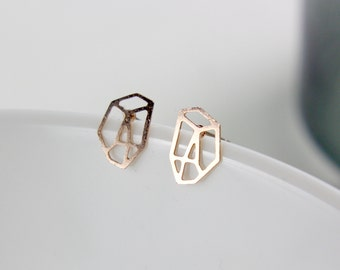 Polygon - gold plated ear studs A44