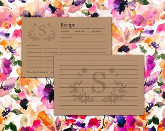 Monogram Kraft Paper Recipe Cards - Floral Bridal Shower - Personalized Recipe Card - Double Sided - Printable - Digital File