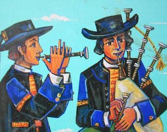 "French vintage Tin Box ""Galettes de Pleyben"" Bretagne Cakes, decorative Tin Box, Guy Chabrol illustration of Breton bagpipes musicians."