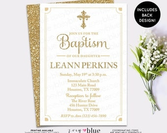 Gold Baptism Invitation - White and Gold First Communion Invite - Christening Invite Confirmation - Boy Gold Glitter - Digital File