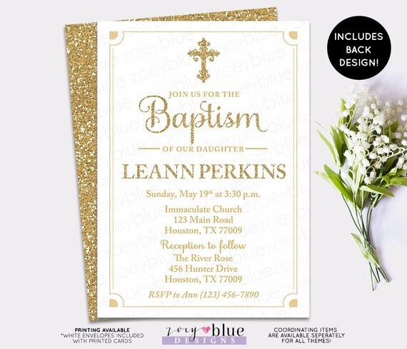 Gold Baptism Invitation White and Gold First Communion Invite