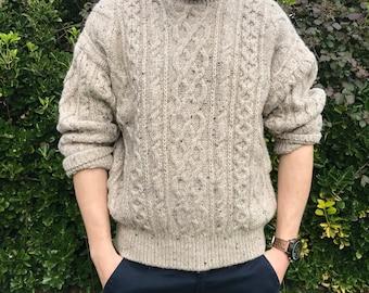 Vintage Cable Knit Flecked Irish Wool Men's Jumper / Sweater