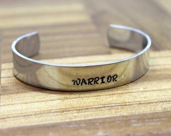 Warrior / Cancer Survivor Bracelet / Hand Stamped Bracelet / Cancer Bracelet / Breast Cancer Gift / Mature Gift