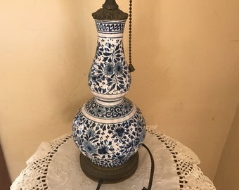 Lovely Antique Porcelain and Brass Table or Dresser lamp with pretty blue flowers- Hand Painted