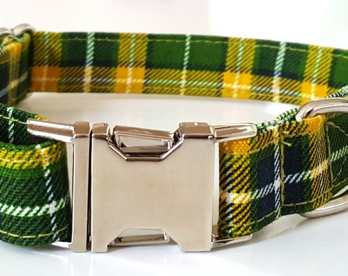 Green Plaid Check Dog Collar