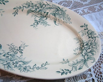 Antique french green transferware oval serving platter. Antique french transferware. Green and creamware. Nordic living. Gustavian decor