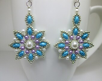 Silver turquoise and purple flower beaded earrings, floral star earrings, flower mandala earrings,