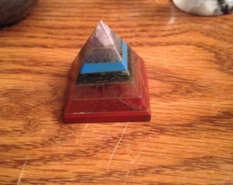 Seven chakras gemstone fused pyramid