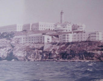 Vintage 1960 View Of Alcatraz Prison From The Bay Color Snapshot Photograph - Free Shipping