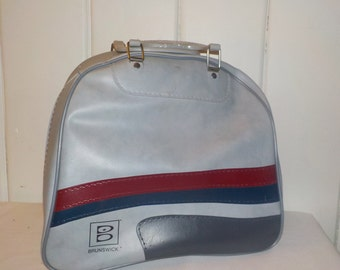 Gray, Red and Blue Vintage Brunswick Bowling Bag, Overnight bag