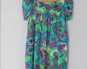 vintage green paisly pocket tunic a line dress