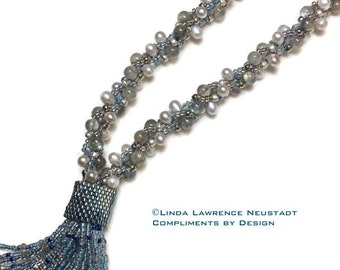LABORDORITE and PEARL Kumihimo Tassel Necklace Lariat