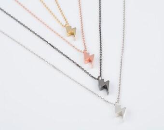 Solid gold bolt necklace,  Lightning necklace,  Thunderbolt charm, Tiny thunderbolt necklace,  Solid gold necklace