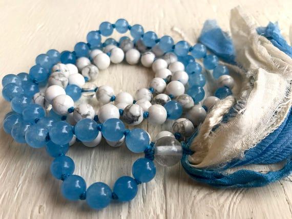 Chakra Mala Beads, Blue Chalcedony, Magnesite & Crystal, Silk Sari Tassel Necklace, Mala for Clarity and Enlightenmenet