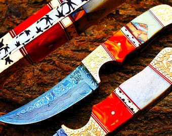 """4.1""""Damascus Blade Collector Hunting Knife w/Engraved Brass Bolsters,Buffalo Bone,File-Work,Custom Leather Cover UDK-AF-21"""