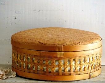 Round Woven Wicker Basket, Lidded Basket Lined Storage Basket, Sewing Basket, Nursery Decor, Boho Wedding Card Holder