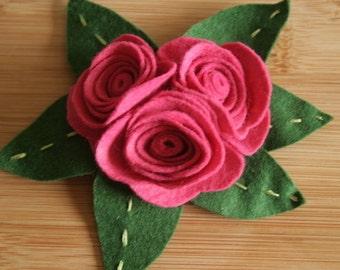Pink Felt Rose Corsage