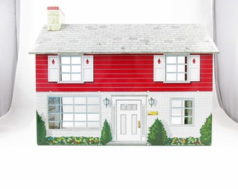 1950s 'Marx' Two Bedroom Two-story House - Metal Lithographed  - Display or Fill Up -  'Marx'  - Five Room House - Bright Colors