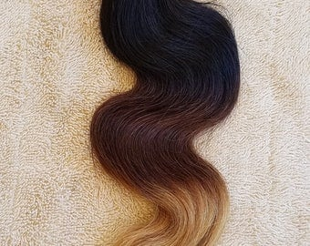 "18"" Body Wave Weft Hair, 100grs,Weft Weaving (Without Clips),100% Human Hair Extensions,  7A Brazilian Ombre # T1B/4/27"