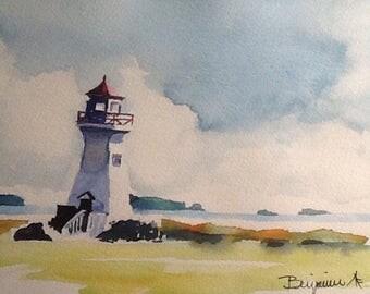 """Original Watercolour Painting, """" Five Islands Light House"""", Lighthouse art, original work, not a print!"""