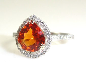 1.84 Carat Padparadscha Sapphire Ring with Diamond Halo In 14k White Gold (14424)