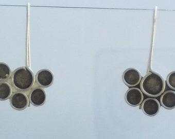 Silver Geomtric Drops,  Paw Prints