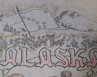 Vintage Alaska Scarf from the 1950's to 1960's Fringed edges - White, Gray, Pink - lightweight cotton