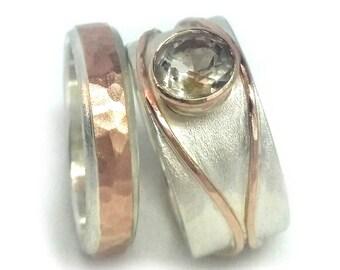 Golden quartz wedding ring set, his and hers complementary set, alternative diamond ring, rose gold engagement rings, rutilated quartz