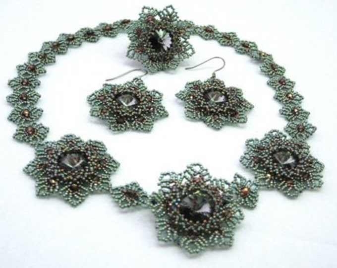 "3-tlg. Set ""Desy"" necklace + earrings + ring, nostalgia"
