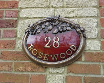 Floral Roses garden house Sign, House name Sign in Cold Cast Bronze and deep Red