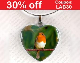 Robin Pendant, Robin Necklace, Robin Jewelry, Robin Charm, Robin Art, Bird Jewelry, Bird Pendant, Gift, Robin Bird