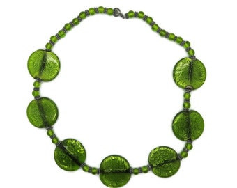 Green Glass Necklace, Vintage Crackle Glass Necklace, MOD Necklace, Glass Disks and Beads Necklace, FREE SHIPPING